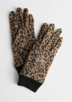And other stories Wool Blend Leopard Print Gloves