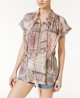 William Rast Alannah Floral-Print Tasseled Top