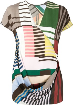 Rick Owens Contrast Print Ruched Detail Blouse