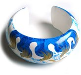 Idin Jewellery - Blue hand-painted wave pattern bangle from mango wood