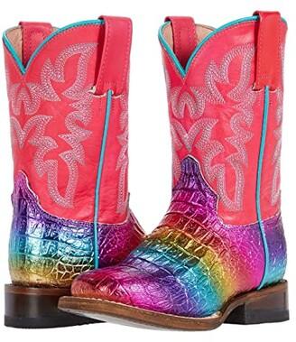 Roper Ali (Toddler/Little Kid) (Rainbow Faux Caiman Vamp/Pink Shaft) Girls Shoes