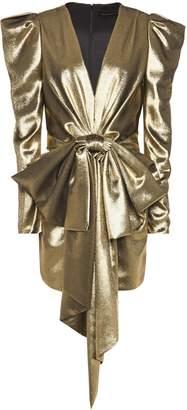 Alexandre Vauthier Bow-embellished Silk-blend Lame Mini Dress