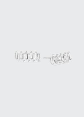 Suzanne Kalan 18K White Gold Diamond Baguette Stud Earrings