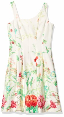 Gabby Skye Women's Sleeveless Scoop Neck Scuba A-line Dress
