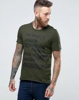 Sisley T-shirt With Raw Hem And Graphic Print
