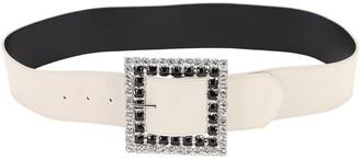 Alessandra Rich 50mm Suede & Crystal Belt