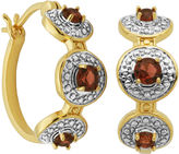 SPARKLE ALLURE Classic Treasures Genuine Garnet and Diamond-Accent Hoop Earrings