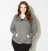 Avenue Striped 2fer Active French Terry Hoodie