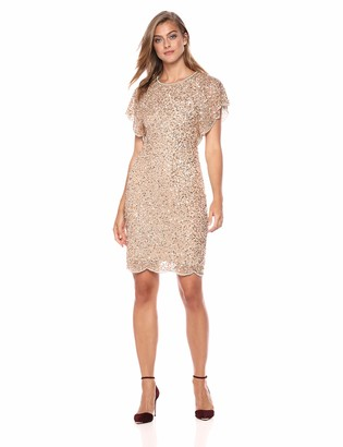 Adrianna Papell Women's Flutter Sleeve Boat Neckline Beaded Cocktail Dress