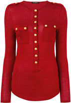 Balmain Wool And Silk Turtle-neck Sweater With Gold Buttons
