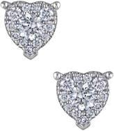 Rina Limor Fine Jewelry Women's 14K White Gold & 0.49 Total Ct. Diamond Heart Stud Earrings