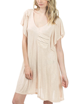 Bow & Arrow Nude Peach Flutter-Sleeve T-Shirt Dress