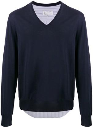 Maison Margiela shirt-panel V-neck jumper
