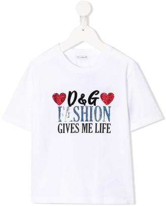 Dolce & Gabbana Fashion gives me life print T-shirt