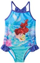 Disney Disney's The Little Mermaid Ariel & Flounder Baby Girl Ruffle One-Piece Swimsuit