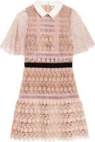 Self-Portrait Guipure Lace Mini Dress - Blush