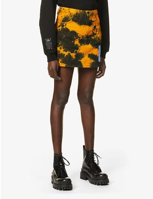 McQ Genesis II tie-dye high-waist denim mini skirt