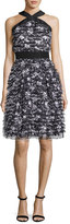 Prabal Gurung Flower-Fringe Chiffon Halter Dress, Black/White