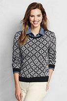 Classic Women's Tall Supima Crewneck Sweater-Ivory/Black Fairisle