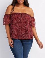 Charlotte Russe Plus Size Crochet-Trim Lace Off-The-Shoulder Top