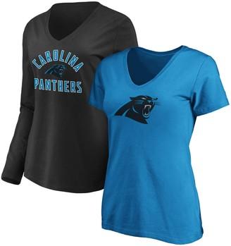 Women's Fanatics Branded Blue/Black Carolina Panthers V-Neck T-Shirt Combo Pack