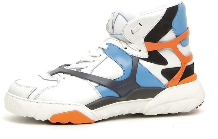 Valentino Men's Retro Logo Leather High-Top Sneakers, Blue/Orange