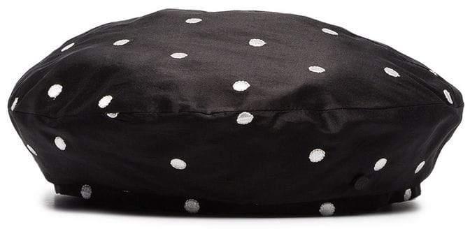 Maison Michel black and white Polka Dot Hat
