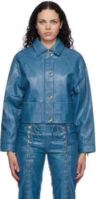 Saks Potts Blue Leather Diablo Jacket