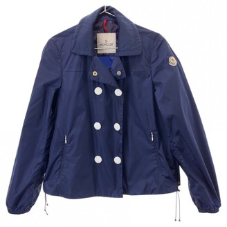 Moncler Navy Polyester Leather jackets