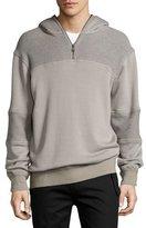 Helmut Lang Textured Half-Zip Pullover Sweatshirt, Gray