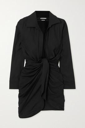 Jacquemus Bahia Knotted Twill Mini Dress - Black