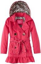 Pink Platinum Little Girls' Toddler Leopard Lining Trench Raincoat Jacket