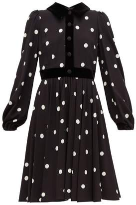 Dolce & Gabbana Cady Velvet-trimmed Polka-dot Crepe Midi Dress - Womens - Black White