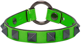 Valentino Green Garavani Leather Rockstud Bracelet