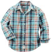Carter's Baby Boy Woven Plaid Patterned Button-Down Shirt