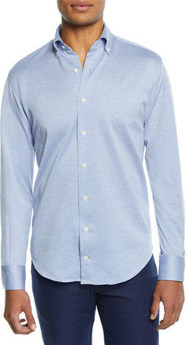 Peter Millar Men's Solid Mesh Jersey Sport Shirt