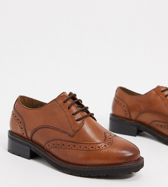 Dune wide fit fion leather brogues in tan