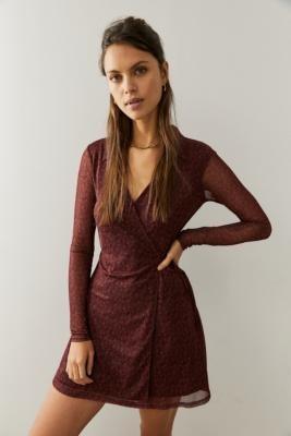 Urban Outfitters Long-Sleeve Modern Mesh Burgundy Mini Dress - Purple XS at