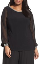 Alex Evenings Plus Size Women's Beaded Illusion Sleeve Blouse