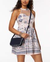 Trixxi Juniors' Textured Illusion Fit & Flare Dress