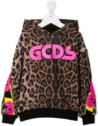 Gcds Kids All-Over Leopard Print Hoodie