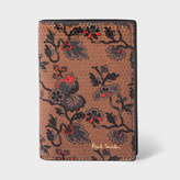 Paul Smith Men's Brown Leather 'Logan Floral' Print Credit Card Wallet