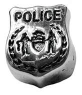 Zable Sterling Silver Police Badge Bead Charm BZ-1773