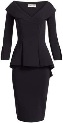 Chiara Boni Zoya Long-Sleeve Peplum Sheath Dress