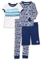 Body Glove Little Boy's Four-Piece Ocean Waves Cotton Pajama Set