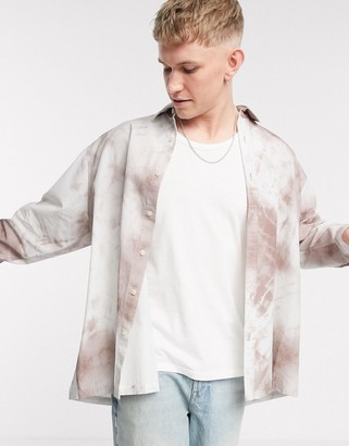 ASOS DESIGN oversized wide fit shirt in purple smudge print