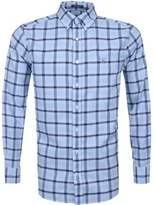 Gant Linen Regular Long Sleeve Check Shirt Blue
