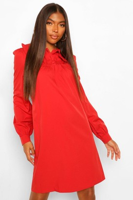 boohoo Tall Collar and Button Detail Woven Dress