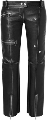 Alexander McQueen Zip-detailed Textured-leather Straight-leg Pants