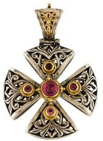 Konstantino Two-Tone Pink Tourmaline Cross Enhancer
